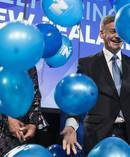 National Party leader Bill English celebrates his arriveal at SKYCITY Convention centre on election night 2017 and are greeted by party supporters. Photo / Greg Bowker