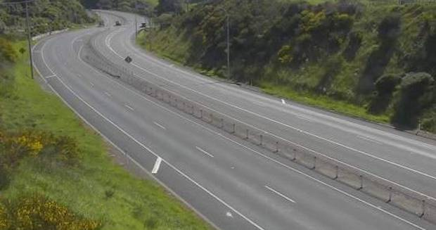 State Highway 1 at Airlie Road looks like a ghost motorway due to the road closure. Photo / NZTA