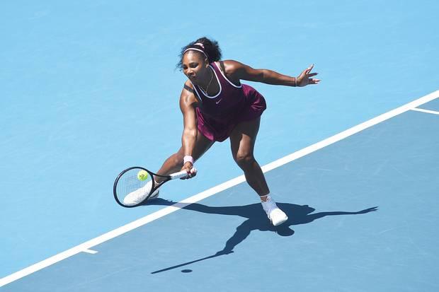 Serena Williams makes a return during her quarter finals singles match against Laura Siegemund at the ASB Classic. Photo / AP