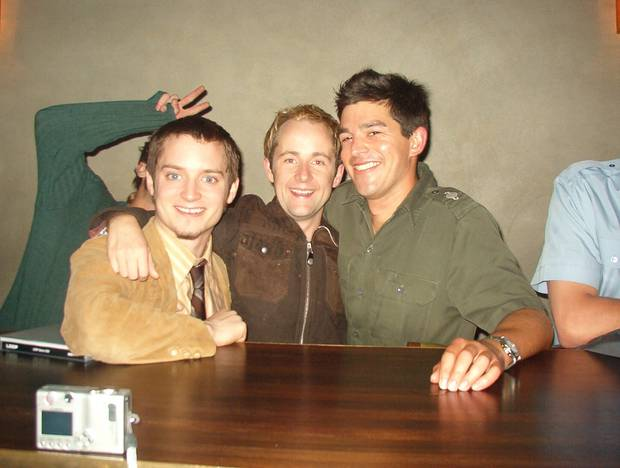 Jacob Briars with Lord of the Rings stars at Matterhorn Bar in Wellington. Photo / supplied.