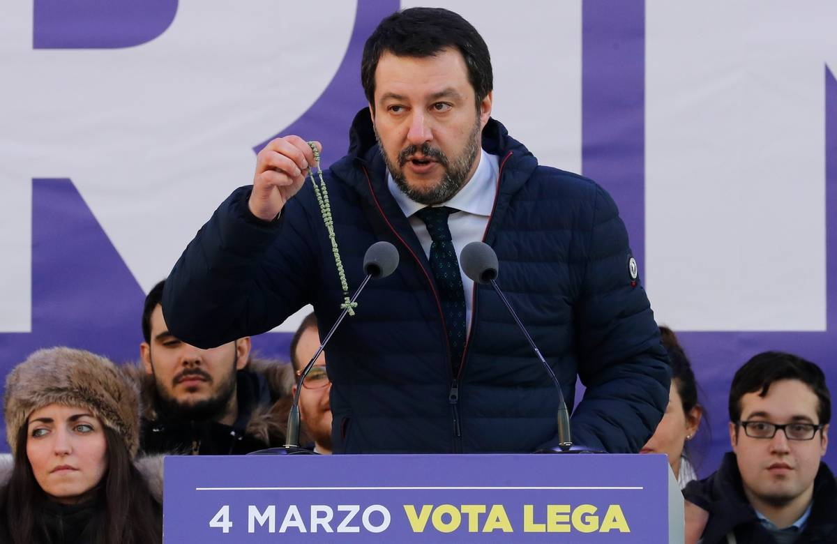 Italians divided over populist politician Matteo Salvini's use of religious symbols