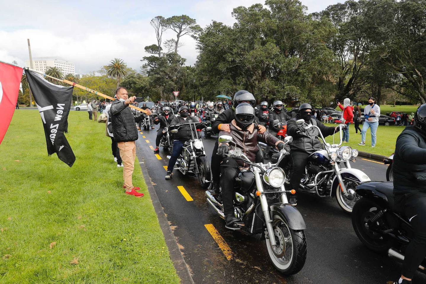 Bikers arriving for the anti-lockdown rally. Photo / Dean Purcell