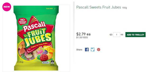 Fruit Jubes now come in a 180g packet. Image/Countdown.