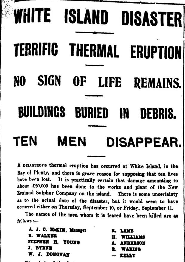 How the New Zealand Herald reported a devastating 1914 lahar and landslide on White Island that killed 11 men. Photo / File