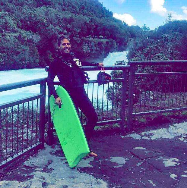 Timmy Nator before body boarding the rapids at Huka Falls last year. Photo / Supplied
