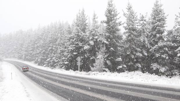Te Haroto: nieve en Napier-Taupo Rd, SH5, Hawke's Bay.  Foto / Duncan Brown
