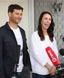 Prime Minister Jacinda Ardern and partner Clarke Gayford discuss the incoming addition to their family. Photo / Greg Bowker