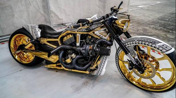 A gold-plated Harley Davidson seized by police in April. Photo / NZ Police
