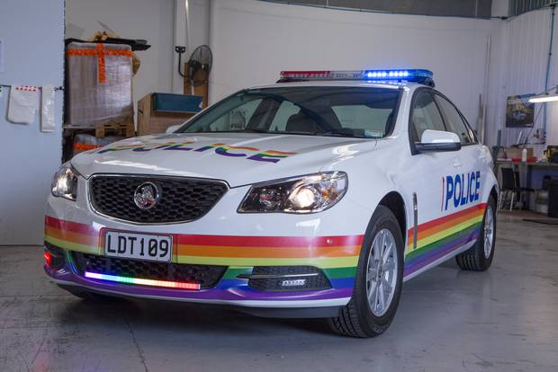 This police patrol car has been decked out in rainbow colours to support the Auckland Pride Festival. Photo / NZ Police