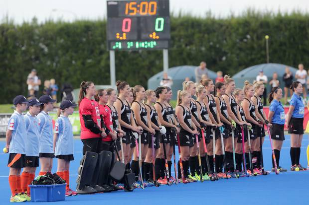 New Zealand Black Sticks sing the national anthem ahead of a game with the Australia Hockeyroos, Hastings, 2017. Photo / Duncan Brown