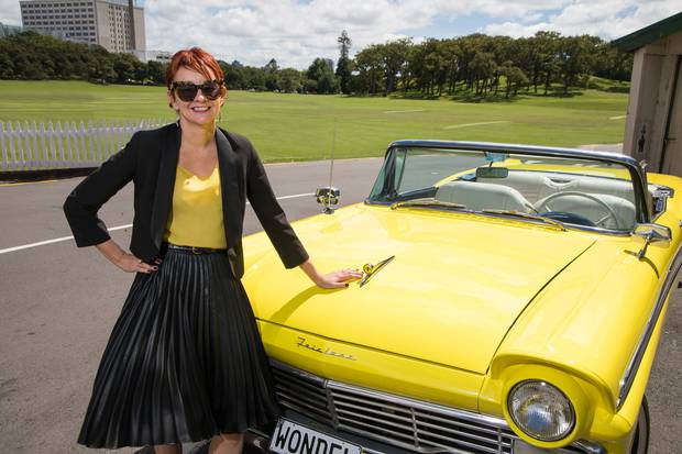 Mercury chief marketing officer Julia Jack stands alongside Evie, the electric muscle car. Photo / File
