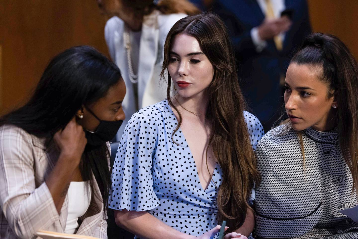 Simone Biles, McKayla Maroney, and Aly Raisman arrive for a Senate Judiciary hearing about the Inspector General's report on the FBI's handling of the Larry Nassar investigation.