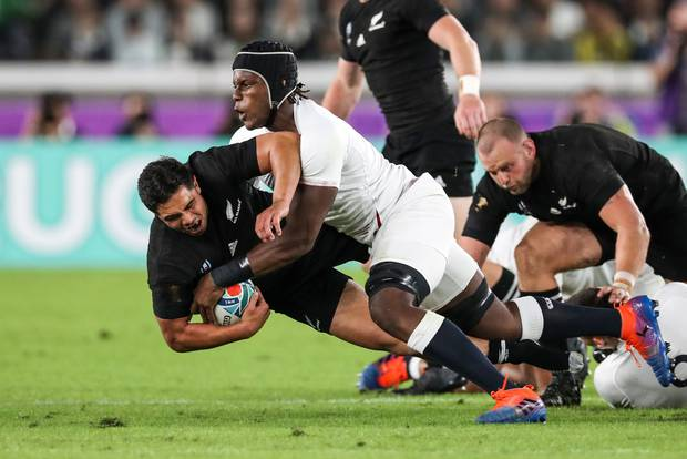 England's Maro Itoje tackles the All Blacks' Anton Lienert-Brown in the 2019 Rugby World Cup semifinal. Photo / Photosport