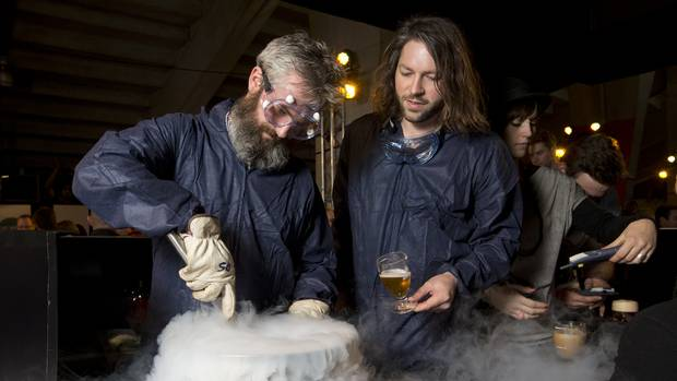 Garage Project brewer Pete Gillespie, left, and co-founder Jos Ruffell at Beervana. Photo/Mark Mitchell