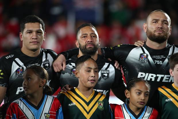 Benji Marshall had to fight back tears during the national anthem ahead of his return for the Kiwis. Photo / Getty Images