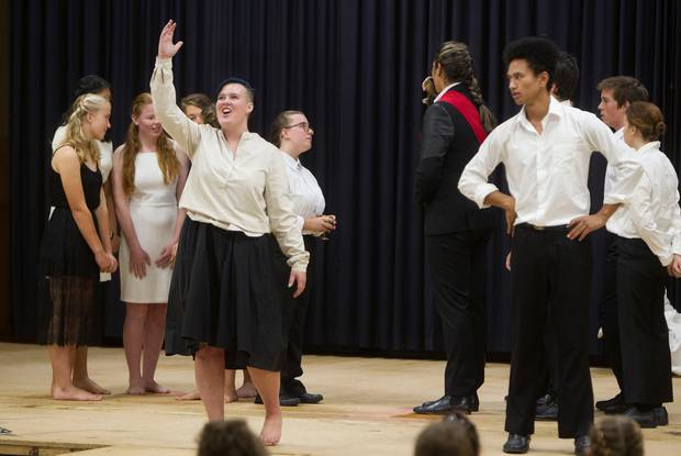Western Heights High School students including Denva Graves, (left) and Tamahou Smith (far right) perform during the Sheilah Winn Shakespeare Rotorua Regional Festival. Photo / Ben Fraser