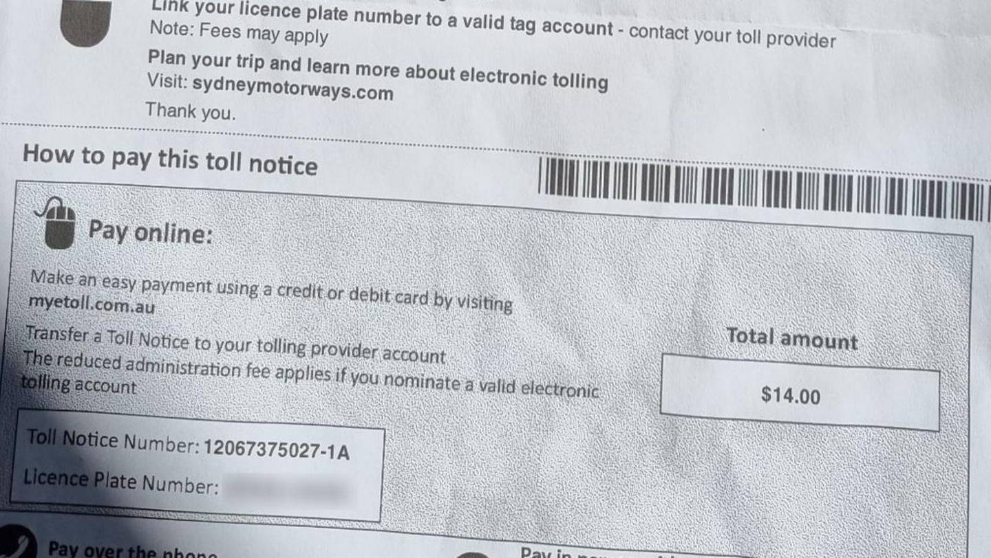 """A typical toll was only AU$4 but an additional AU$10 was added in """"administration fees"""". Photo / news.com.au"""