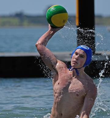 47a3cbd5dc72 ... Loui Schuler plays some water polo in the Tauranga Harbour in  preparation for this weekend s tournament