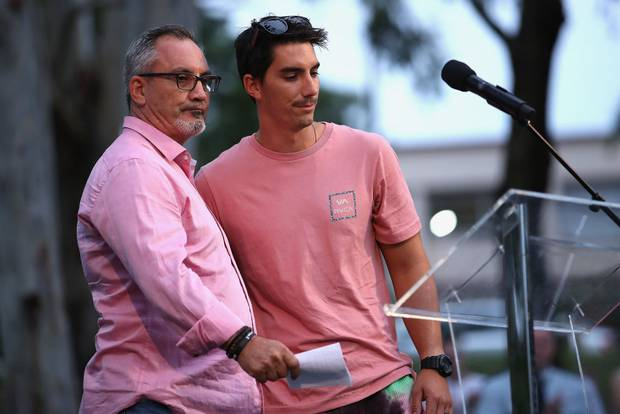 Lloyd and Nathaniel Clarke, father and brother to Hannah Clarke, speak at a vigil to remember her and her children. Photo / Getty Images