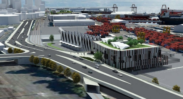 Ports of Auckland masterplan proposed engineering workshop and head office picture supplied by Ports of Auckland