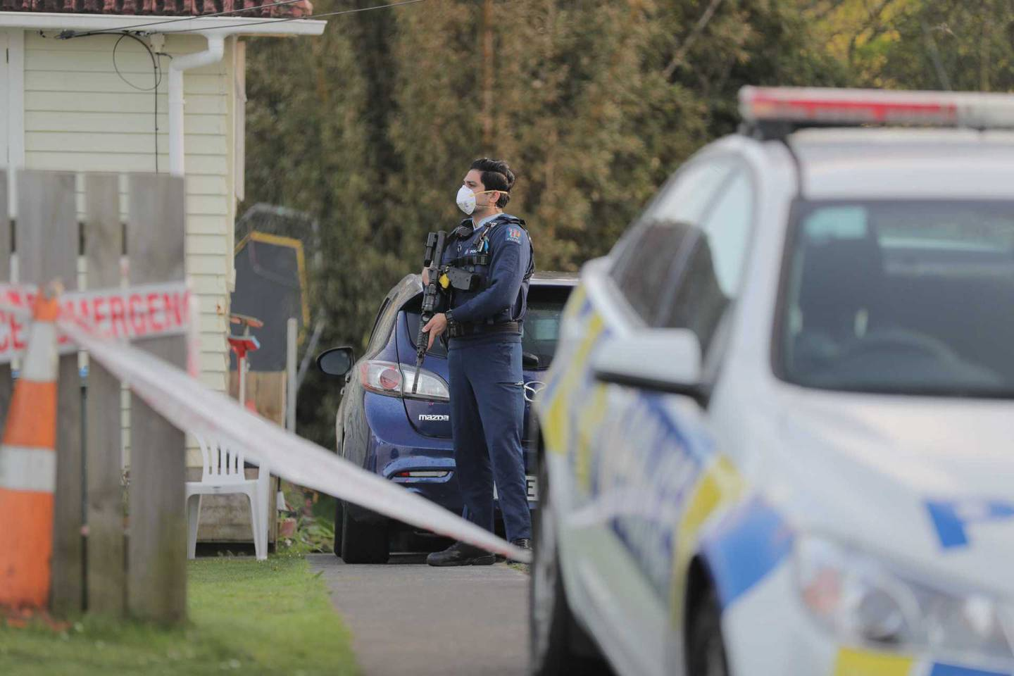 An armed police officer was at the scene this morning. Photo / Michael Craig