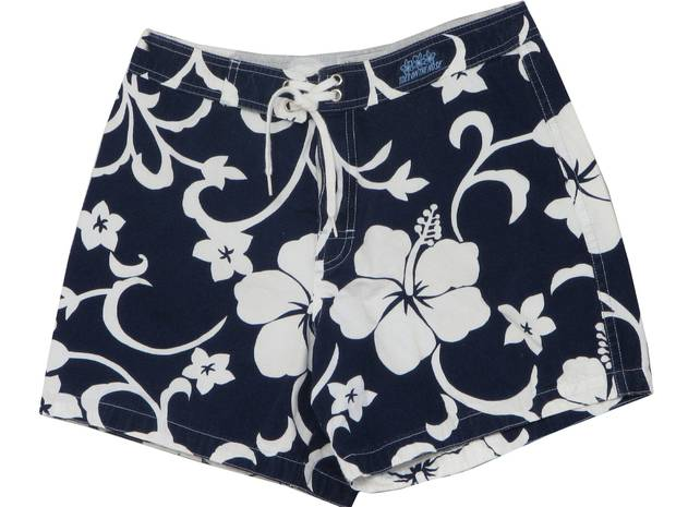 Hibiscus print board shorts. Photo / Ebay