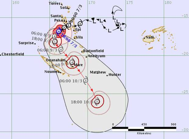 Fiji Metservice's latest track map shows Tropical Cyclone Hola moving southwest towards New Caledonia before turning southeast in the general direction of New Zealand. Image/Fiji Metservice