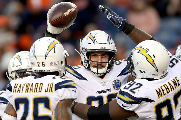 Joey Bosa leads the Chargers defence into battle against the New England Patriots. Photo / Getty Images