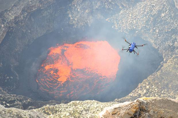 One of Dr Ian Schipper's drones in action over Vanuatu's Ambrym volcano. Photo / Nial Peters