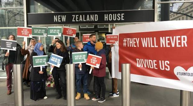 Solidarity action this afternoon by Turn To Love at New Zealand House, London. Photo / Twitter