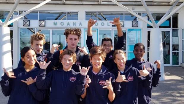 Swim Rotorua's Miki Joyce (back left), Riley Granger, Taonga Wharekura, Aaron Muchirahondo, Ngamihi Simpson (front left), Sam Trass, Dion Wright and Stella Weston in Dunedin. Photo / Supplied
