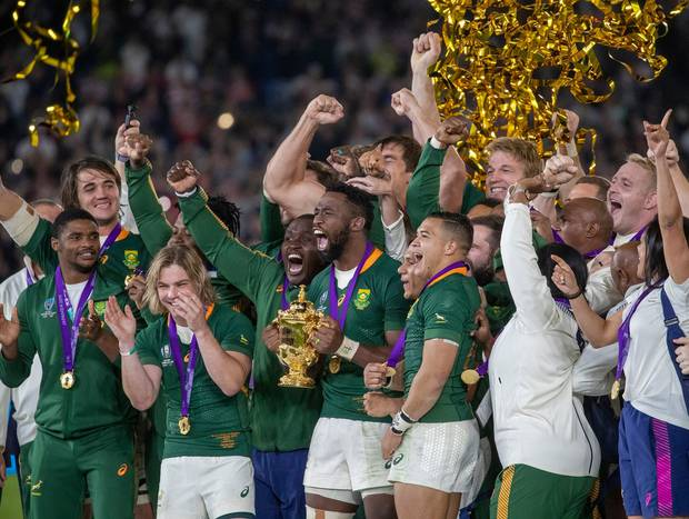The Springboks celebrating with the Webb Ellis Cup. Photo / Mark Mitchell