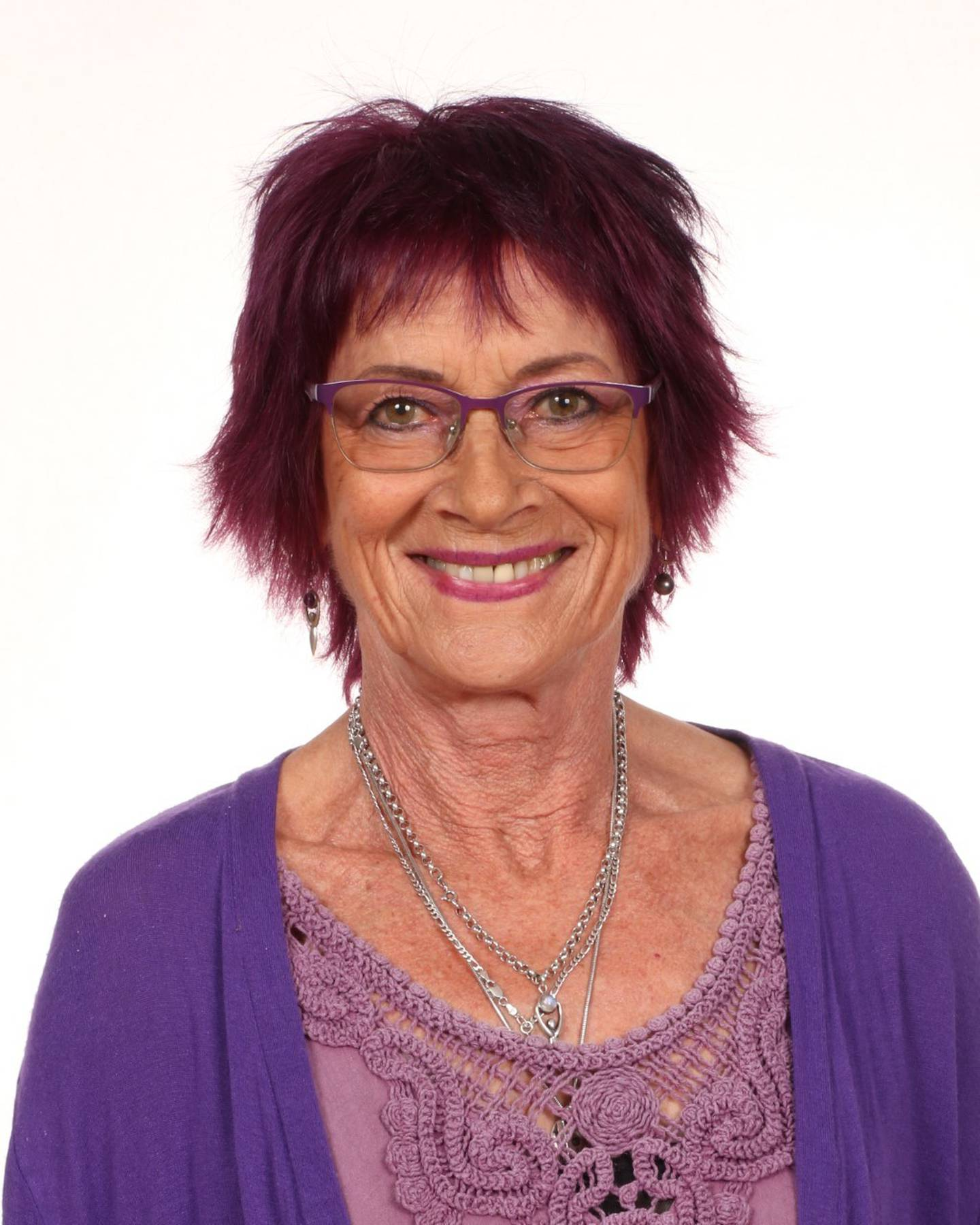 Purple-loving Westmere School teacher Julie Ann Hamilton, 67, was remembered by hundreds on Saturday after her sudden passing last week. Photo / Supplied