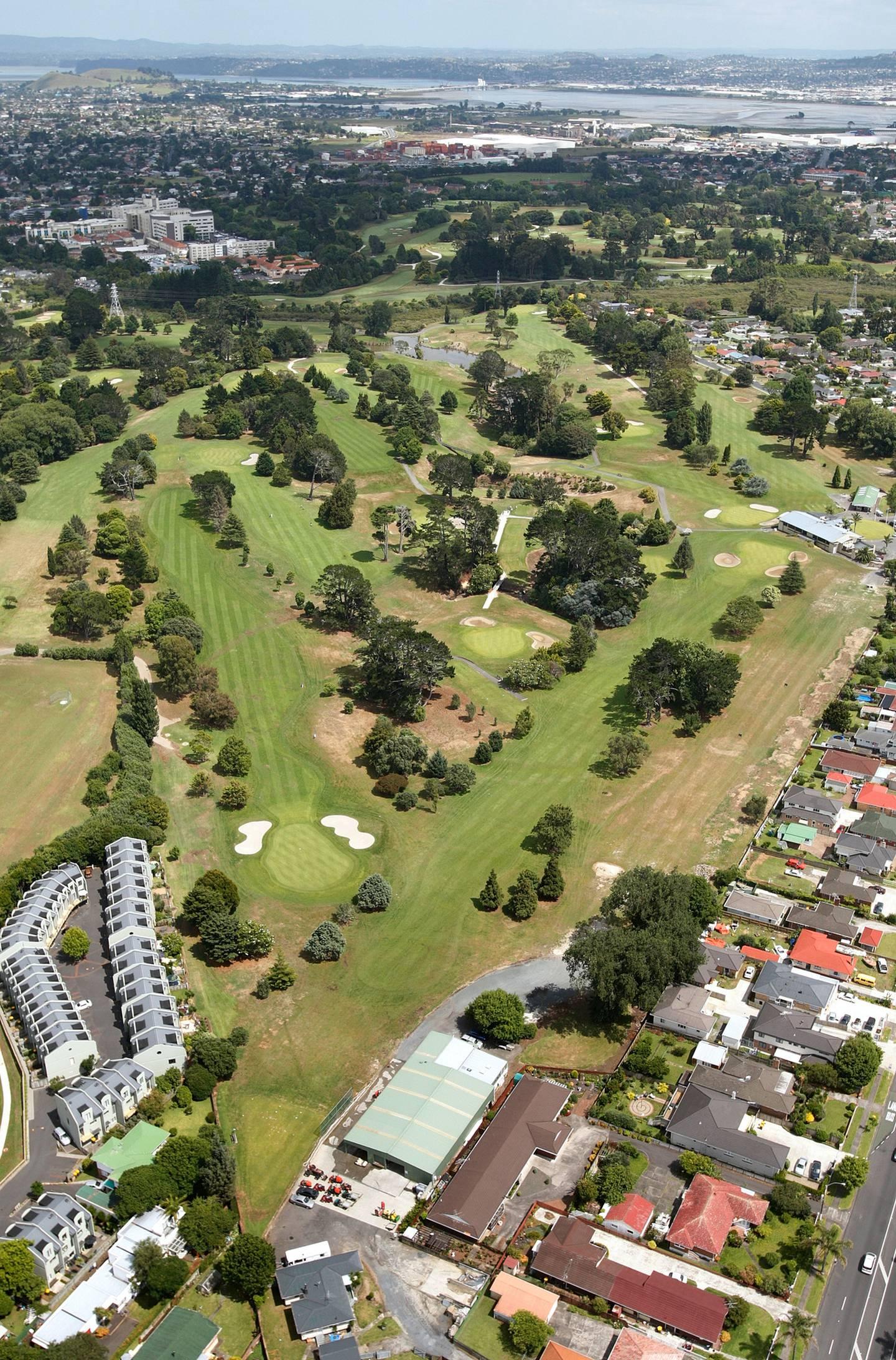 Aerial photo of The Grange Golf Club golf course. Photo / Brett Phibbs