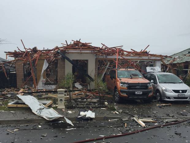 The gas blast completely destroyed a Christchurch house and injured six people. Photo / Amber Allott.