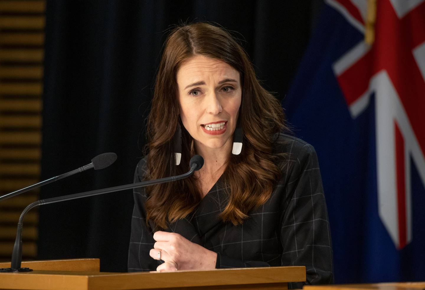 Jacinda Ardern said she and her family members will be vaccinated but they aren't the priority - frontline border workers are. Photo / Mark Mitchell
