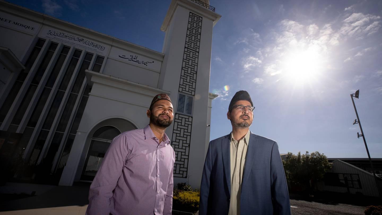 Ahmadiyya Muslims Azeem Zafarullah, left, and Imam Shafiq ur Rehman at the Baitul Muqeet Mosque in South Auckland. Photo / Dean Purcell