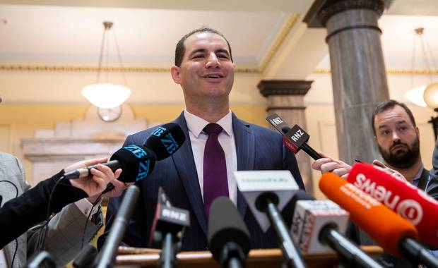 Jami-Lee Ross yesterday called a press conference at Parliament with bombshell accusations of fraud and corruption against National Party leader Simon Bridges. Photo / Mark Mitchell