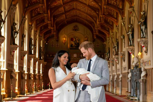 The Duke and Duchess of Sussex showed the world their new son Archie Harrison from St George's Hall at Windsor Castle. Photo / AP