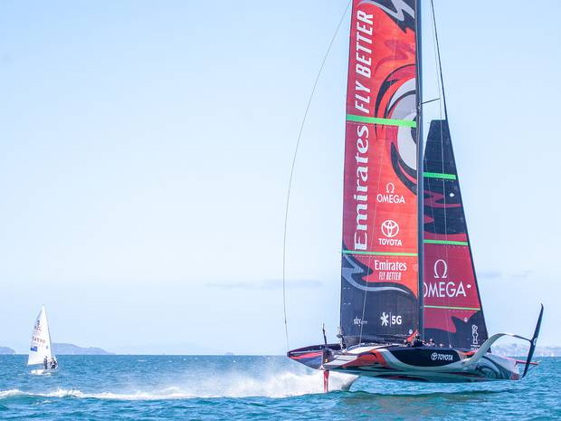 Emirates Team New Zealand AC75 America's Cup yacht pictured in September last year. Photo / ETNZ