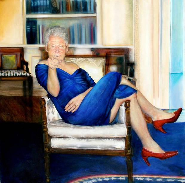 On a wall in the hall was a portrait of former US President Bill Clinton in red heels and the infamous stained blue dress worn by Monica Lewinsky when she performed a sex act on him. Photo / Supplied