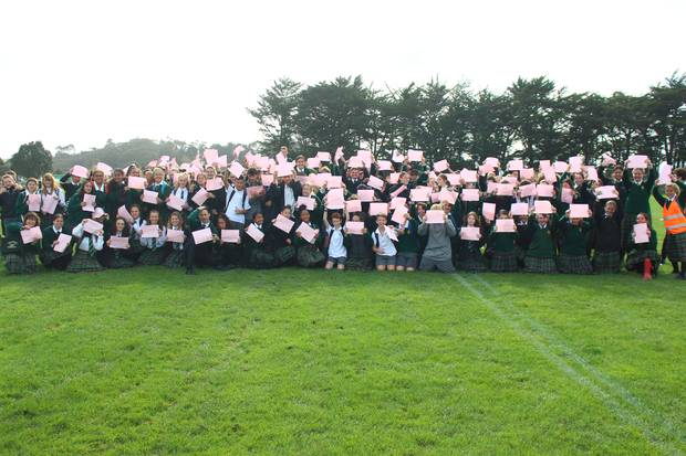 Whanganui High School 'Spreads the Love' by making a giant pink heart on the school field for anti-bullying week. Photo / Caitlin Currie