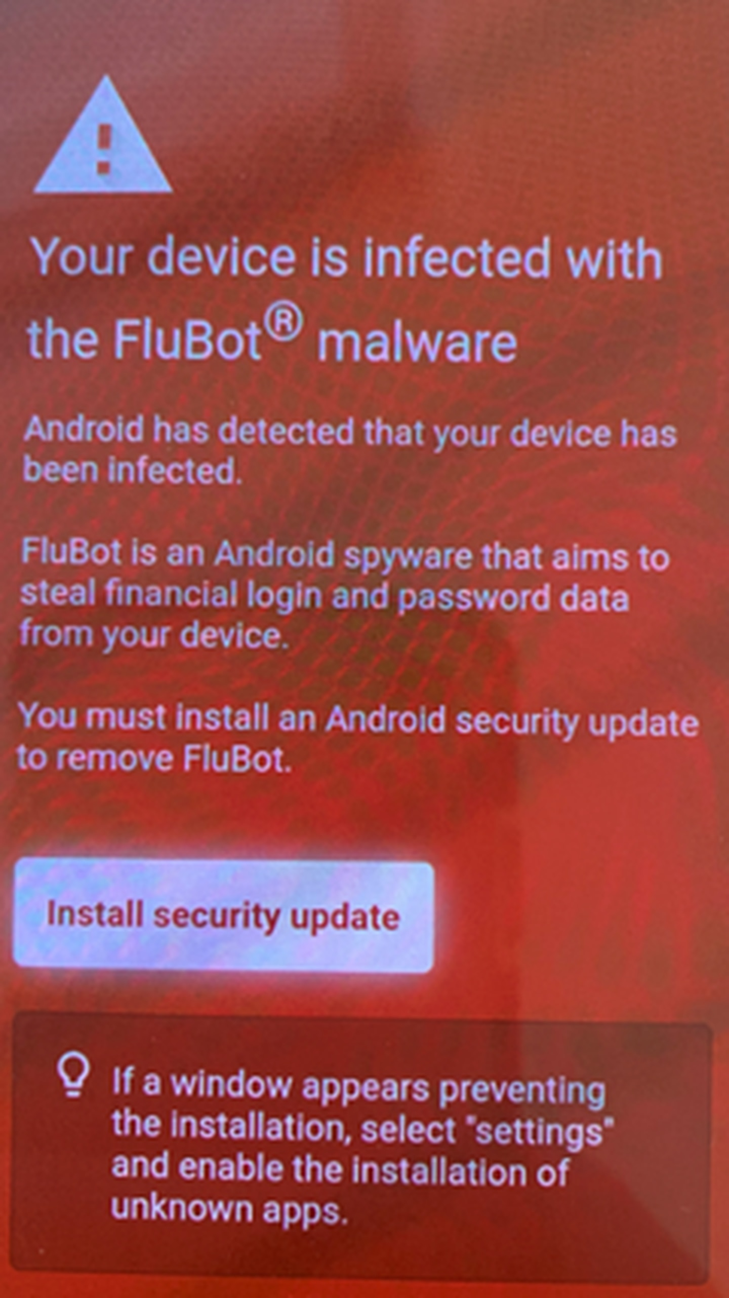 """The bogus Flubot infection message - which in fact leads to a """"security update"""" that is the virus itself. Do not click. Image / DIA"""