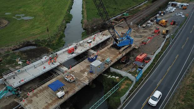 New spans in place on Bridge 105.