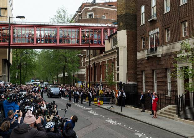 Make way for the media! The scrum outside the hospital where Kate gave birth to Louis. Photo / Getty Images