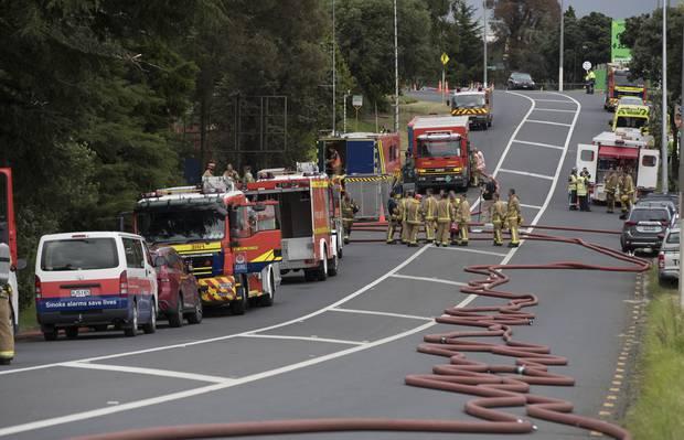 Fire crews at the scene of the blaze. Photo / Brett Phibbs