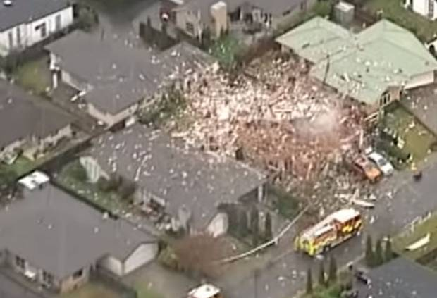 The scene of a gas explosion that levelled a house in Christchurch's Marble Court. Photo / NZ Herald