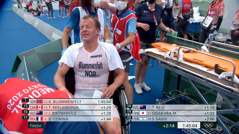 Kristian Blummenfelt in a wheelchair after the race. Photo / TVNZ/Sky Sport