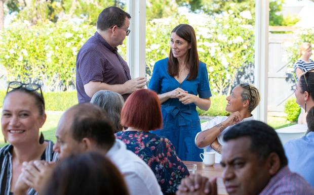 Prime Minister Jacinda Ardern and Finance Minister Grant Robertson mingling with members of the Labour caucus during their retreat breakfast at Brackenridge, Martinborough. Photo / Mark Mitchell