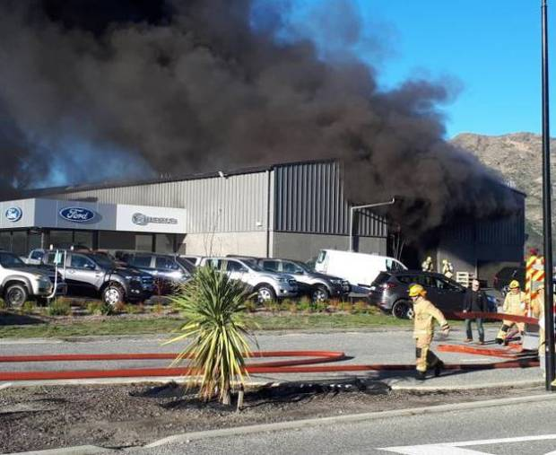Firefighters at Macaulay Motors in Queenstown. Photo / Supplied
